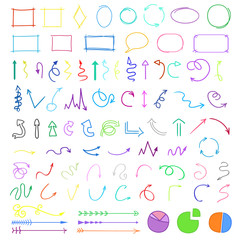 Hand drawn infographic elements on white. Colored arrows. Simple symbols. Line art. Set of geometric shapes. Abstract indicators. Doodles for work
