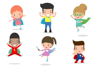 Cartoon vector illustration of Kid Superheroes wearing comics costumes,Kids With Superhero Costumes set, kids in Superhero costume characters isolated on white background, Cute little Superhero child