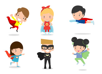 Cartoon vector illustration of Kid Superheroes wearing comics costumes,Kids With Superhero Costumes set, kids in Superhero costume characters isolated on white background, Cute little Superhero child