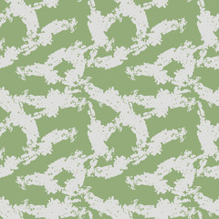 UFO military camouflage seamless pattern in green and beige colors