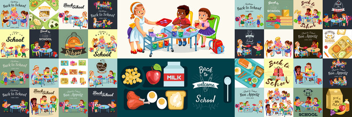 School dinner colorful set, Composition of posters with pupils lunch canteen interior
