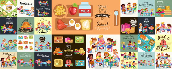 School lunch set, Composition of posters with pupils lunch canteen interior