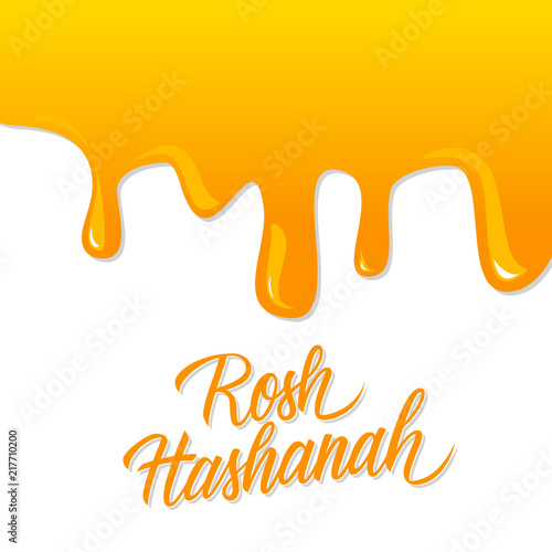 Rosh hashanah hand lettering with liquid honey background jewish rosh hashanah hand lettering with liquid honey background jewish new year holiday card perfect m4hsunfo