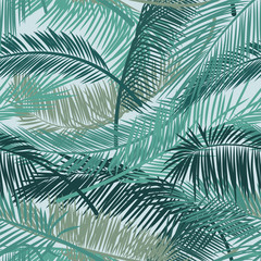 Tropical palm leaves, jungle leaves. Seamless vector floral pattern background. Vector pattern for print design, wallpaper, site backgrounds, postcard, textile, fabric. Vector illustration.