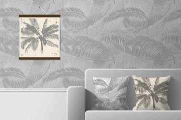Interior of the room with sofa and pillows with prints. Patterns of seamless patterns and prints for interior design. Vector illustration.