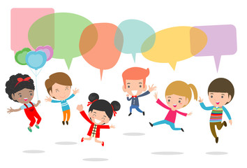 Cute kids with speech bubbles, stylish children jumping with speech bubble, children talking with speech balloon. jumping kids, Multi-ethnic children jumping, Kids jumping with joy,Vector Illustration