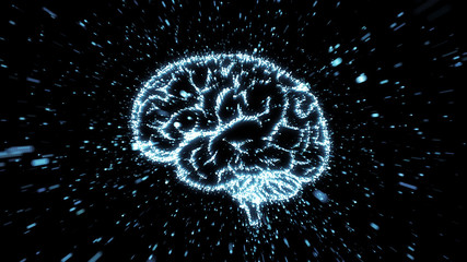 Glowing brain illustration being fromed from particle explosion with motion blur