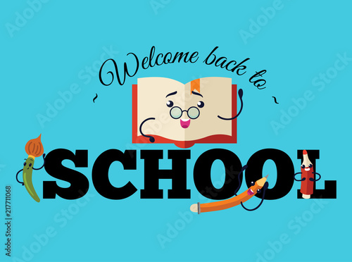 Welcome Back To School Poster Colorful Education Template With
