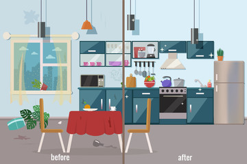 Kitchen before and after cleaning vector flat illustration.