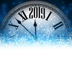 Blue 2019 New Year background with clock.