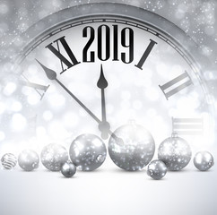 Grey shiny 2019 New Year background with clock. Greeting card.