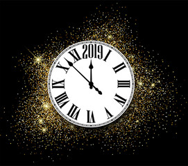 Shiny 2019 New Year background with clock. Greeting card.