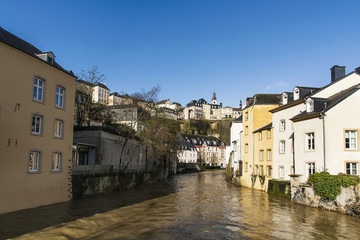 Alzette River and Grund Quarter in Luxembourg City