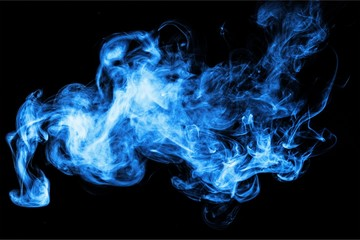 Blue smoke over black background
