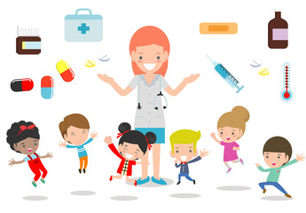 Doctor and kids. Doctor standing together with children, Boy and Girl Be happy Around the doctor on white background. flat style vector illustration