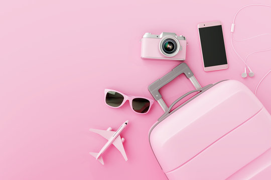 Flat lay pink suitcase with traveler accessories on pastel pink background. travel concept. 3d rendering