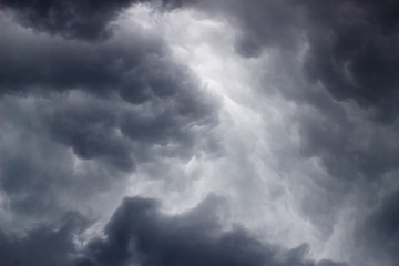Gray thunderstorms and rainy clouds