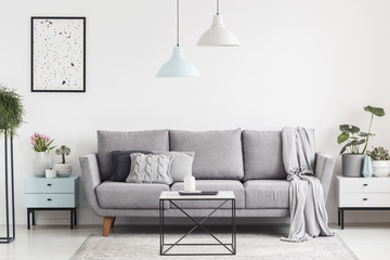 Luxurious living room interior with a grey couch, lamps, coffee table and plants. Real photo
