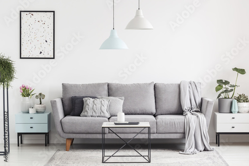 Luxurious Living Room Interior With A Grey Couch Lamps Coffee Table And Plants