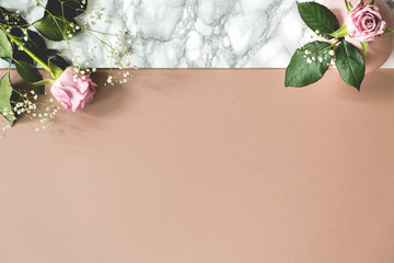 Top view on pastel background with copy space and pink roses. Place for your text