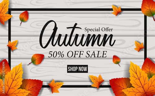 autumn fall leaves season with wood background sale offer template