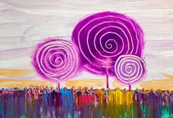 Obraz Trees, oil painting, artistic background - fototapety do salonu