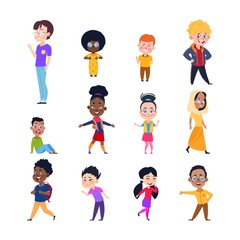 Happy kids. Cartoon european, asian and african children. Boys and girls in casual wear. Isolated vector characters