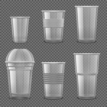 Empty transparent plastic disposable cups. Takeaway drink containers isolated vector set