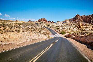 Scenic empty road, travel concept, Nevada, USA.