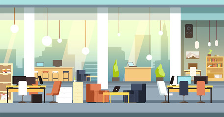 Coworking interior. Empty open space office, workspace vector background