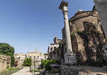 Roman ruins in Forum Romanum in Rome