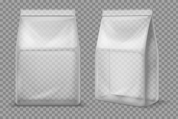 Plastic snack bag. Transparent food blank sachet. 3d vector package isolated mockup
