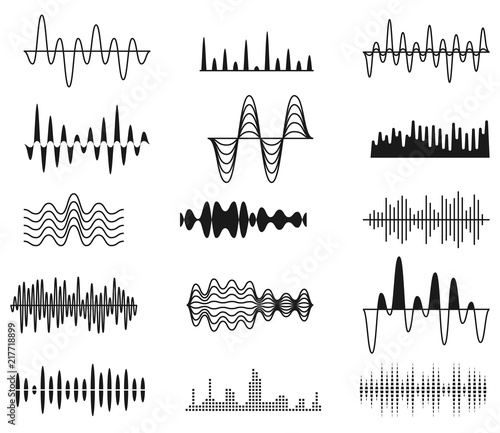Sound amplitude waves  Radio signal symbols  Audio music equalizer