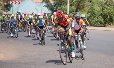 Cyclists compete during the Tour du Rwanda 2018 in Kigali