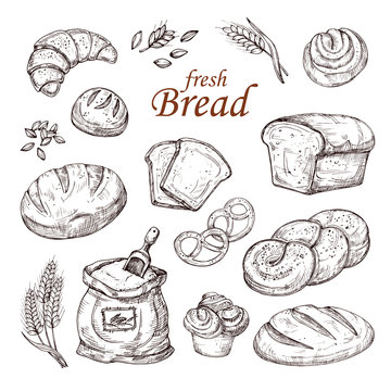 Sketch bread, hand drawn bakery products vector set isolated on white background