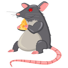 Rat with cheese slice. Cartoon vector illustration on a white background.