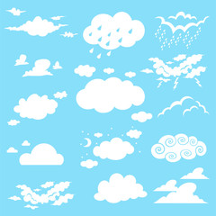 Clouds cartoon vector set on a blue background.