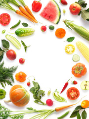 Fototapete - Frame of various vegetables and fruits isolated on white background, top view, creative flat layout.