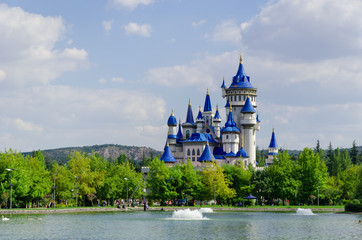 Fairytale castle in Sazova Park, Eskisehir.Turkey
