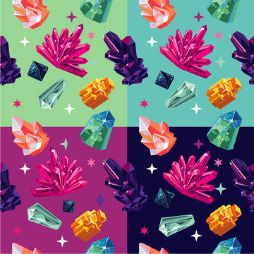 Seamless vector pattern with color crystalls. Vector backround with gemstone.