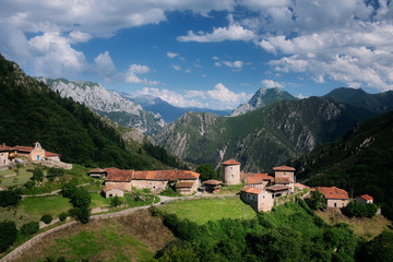 Bandujo, village in the middle of the mountains in Asturias, Spain