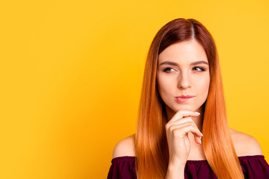 Portrait of red straight-haired attractive cute nice curious you