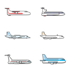 Commercial airplane icon flying view from side