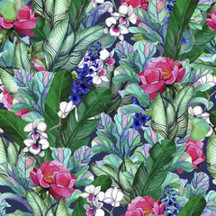 .Pattern with tropical banana leaves and peony flowers, orchids. Seamless botanic pattern with foliage