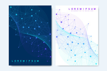 Modern vector templates for brochure, cover, banner, flyer, annual report, leaflet. Abstract art composition with connecting lines and dots. Wave flow. Digital technology, science or medical concept.