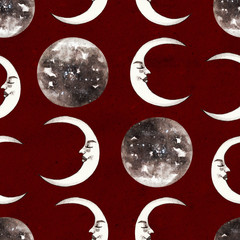 Circus seamless pattern. Moon on vintage red background
