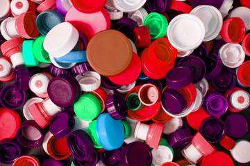 Collection of various colorful plastic screw caps