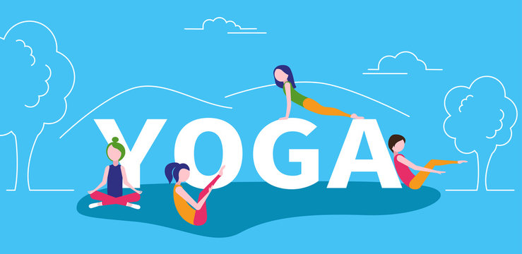 Blue yoga poster with girls doing exercises. Flat style.