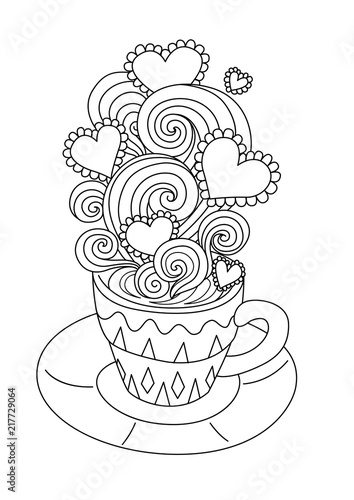 Line art design of hot coffee with beautiful scrolling,heart frame ...