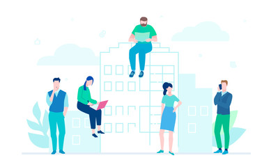 Office life - flat design style colorful illustration